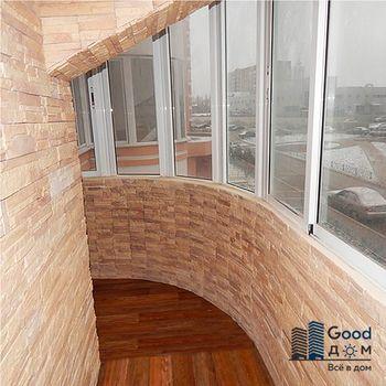 Отделка камнем утепленного балкона