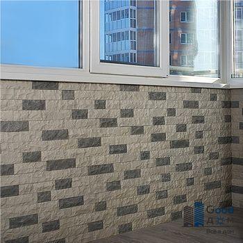 Отделка стен балкона камнем