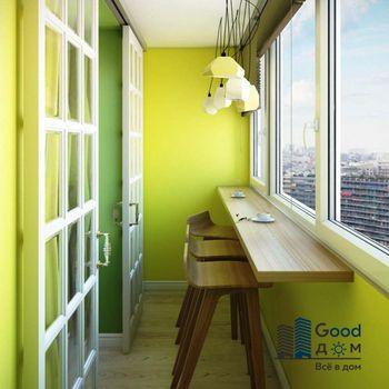 Барная стойка между кухней и балконом