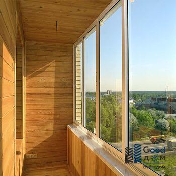 Алюминиевое остекление деревянного балкона