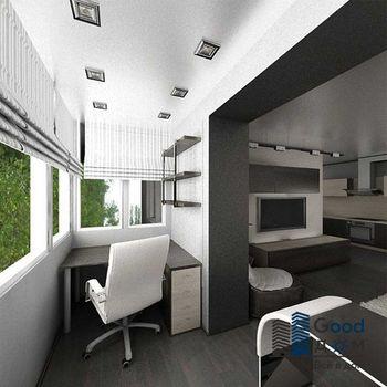 Рабочее место на балконе объединенного с комнатой
