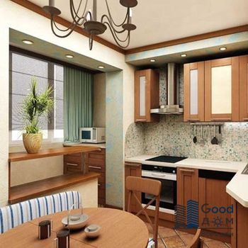 Объединение балкона и кухни фото