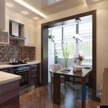 Объединение балкона и кухни под ключ
