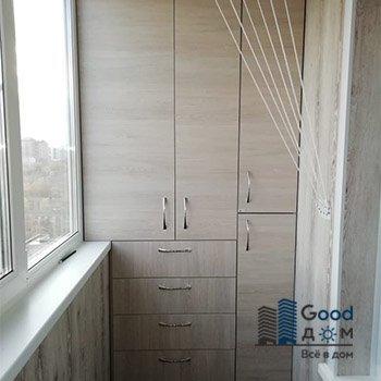 Шкаф распашной с ящиками на балкон